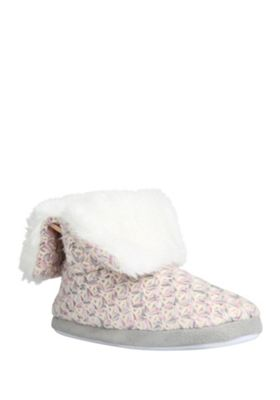 buy f f faux fur collar knitted bootie slippers from our. Black Bedroom Furniture Sets. Home Design Ideas