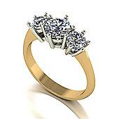 18ct Gold 3 Stone Moissanite Ring