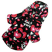 Skull and Hearts Hooded Dog Onesie - Medium