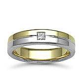 18ct Yellow & White Gold 5mm Flat Court Diamond set 10pts Solitaire Wedding / Commitment Ring