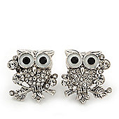 'Wise Owl' Swarovski Crystal Paved Stud Earrings (Silver Plated) - 2cm Length