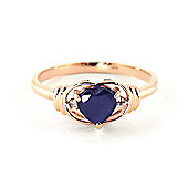 QP Jewellers Diamond & Sapphire Halo Heart Ring in 14K Rose Gold