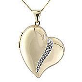 9ct Diamond Set Locket Pendant with Chain