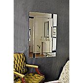 Large Modern All Mirror Glass Black Venetian Mirror 3Ft11 X 2Ft8 (119Cm X 81Cm)