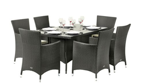 Cannes 6 Seat Rectangular Dining Set - Ebony Black
