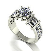 18ct White Gold 6.5mm Moissanite Single Stone Ring with Baguette and Round Set Moissanite Shoulders