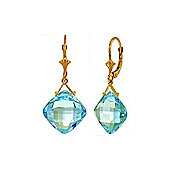 QP Jewellers 17.50ct Blue Topaz Deflection Earrings in 14K Gold