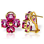 QP Jewellers 7.60ct Pink Topaz Floret Heart Earrings in 14K Gold