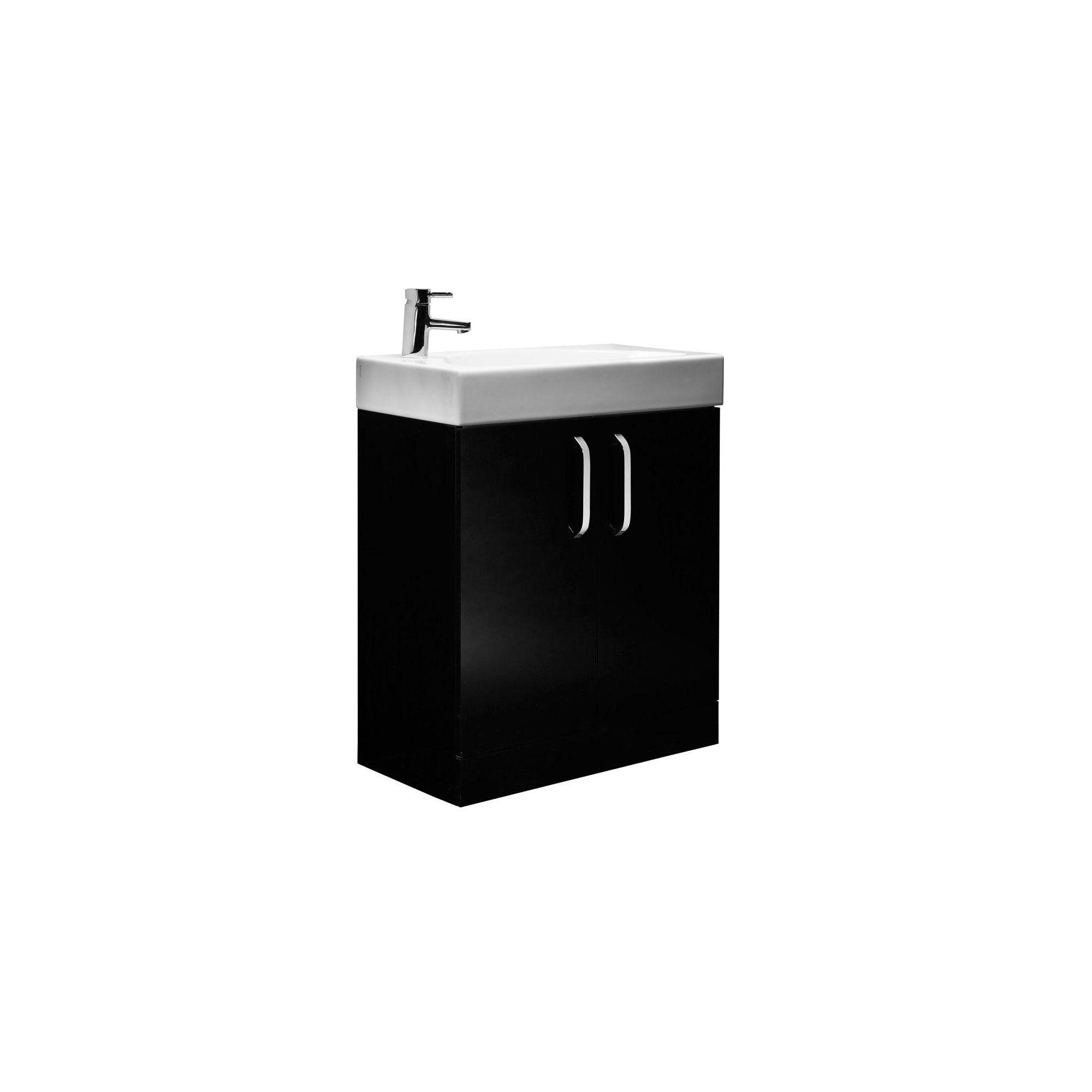 Tavistock Arc Black Floor Standing Cabinet And Basin 1
