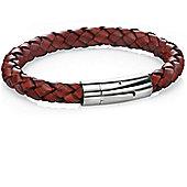Mens Fred Bennett Rust Brown Leather Braided Bracelet - B4106