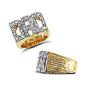 Jewelco London 9ct Solid Gold premium weight CZ set Dad Ring