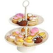 Twill - Metal 2 Tier Cake Stand / Cupcakes / Parties - Antique Cream