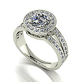 18ct White Gold 6.5mm Round Brilliant Moissanite Solitaire and Moissanite Set Shoulders Ring