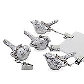 Set of Four Clip-On Antique Silver Wren Bird Tablecloth Weights Garden Accessory