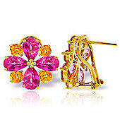 QP Jewellers Citrine & Pink Topaz Flower French Clip Earrings in 14K Gold