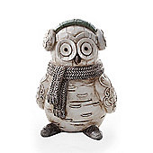 Decorative Christmas Wood Look Owl Ornament with Earmuffs