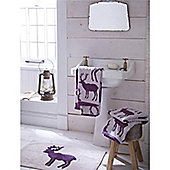 Catherine Lansfield Home Cosy Corner Swing Stag 1600gsm Bath Mat Mulberry