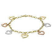 9ct 3 Colour Gold Open Heart Charm Belcher Bracelet 18cm/7""