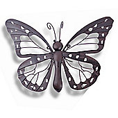Large Decorative Metal Butterfly Garden Wall Art Black / Brown Finish