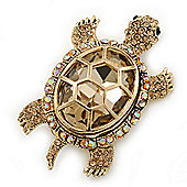 Stunning AB/ Champagne Swarovski Crystal 'Turtle' Brooch In Gold Plating - 62mm Length