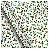Holly Sparkly Christmas Wrapping Paper, 3m