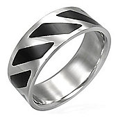 Urban Male Black & Silver Finish Stainless Steel Modern Ring 8mm