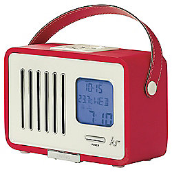 Kitsound Swing Portable FM Radio with Alarm Clock, Red