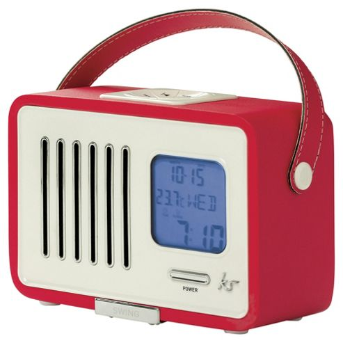 buy kitsound swing portable fm radio with alarm clock red from our portable radio range tesco. Black Bedroom Furniture Sets. Home Design Ideas