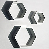 Hexagon - Wall Mounted Storage / Display Shelves - Set Of 3 - White