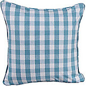 Homescapes Cotton Block Check Blue Scatter Cushion, 60 x 60 cm