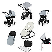 Ickle Bubba Stomp v3 AIO Travel System/Isofix Base/Bouncer Combo - Silver (Silver Chassis)