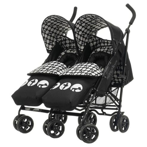 Obaby Apollo V2 Twin Stroller & Footmuffs, Mickey Monochrome