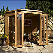 7ft x 7ft Tongue and Groove Corner Summerhouse 7 x 7 Garden Wooden Summerhouse