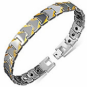 Urban Male Solid Tungsten Carbide Panther Link Two Tone Magnetic Bracelet