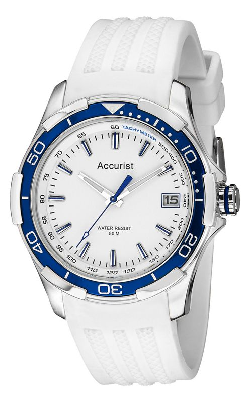 Accurist Gents White Rubber Strap Watch MS860WW