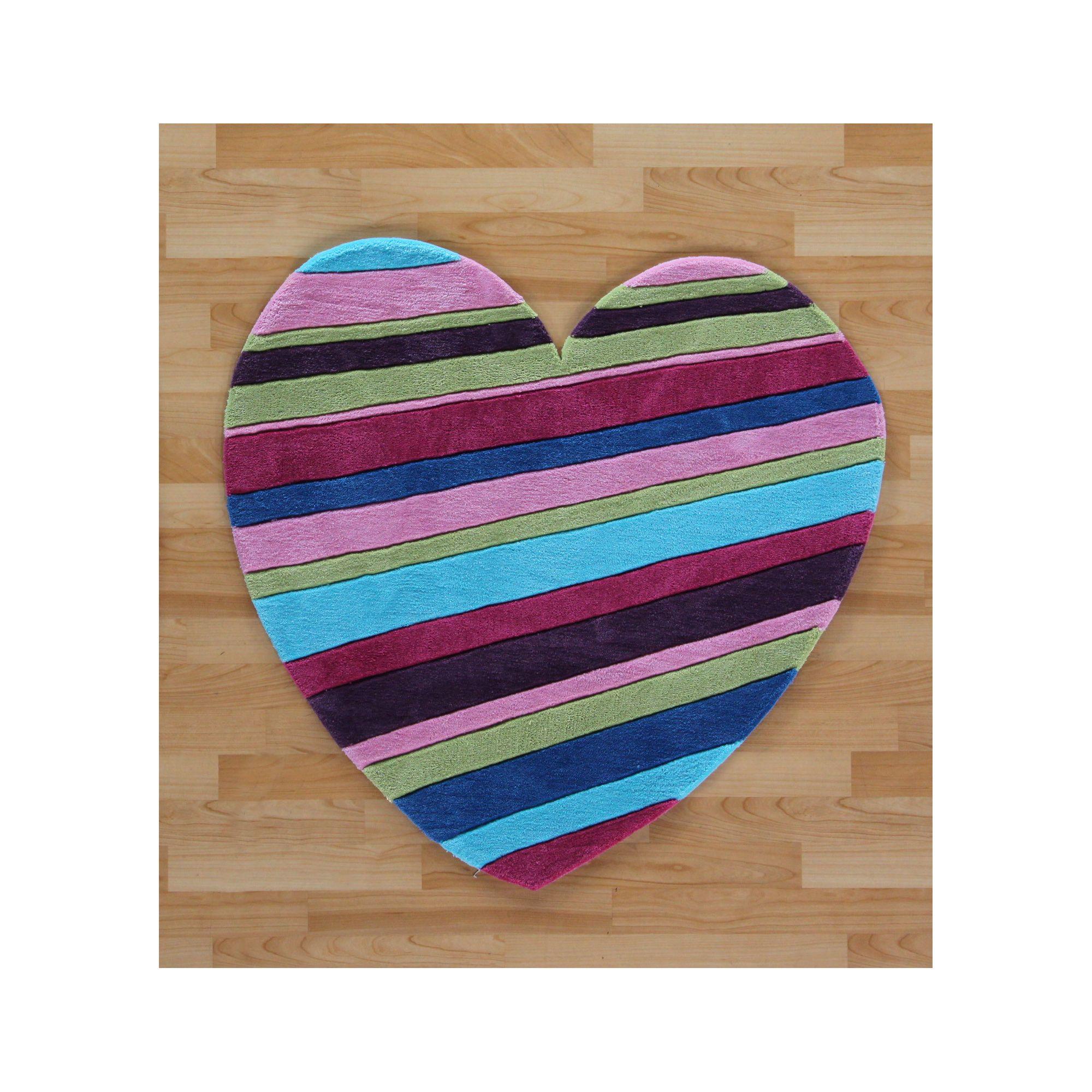Oriental Carpets & Rugs Hong Kong Kids Striped Heart Tufted Kids Rug - 90cm L x 90cm W