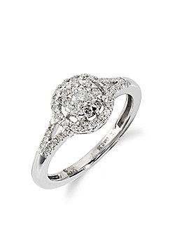 Gemondo 18ct White Gold 0.35ct Split Shank Diamond Halo Cluster Ring