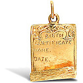 Jewelco London 9ct Solid Gold birth certificate Pendant charm with space for engraving