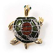 Small Enamel Crystal Turtle Brooch (Green&Brown)