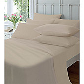 Catherine Lansfield Home Cosy Corner 145gsm Plain Dyed Flette Super King Size Bed Flat Sheet Natural