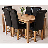 Aspen Solid Oak 150 cm Dining Table with 6 Washington Leather chairs (Black)