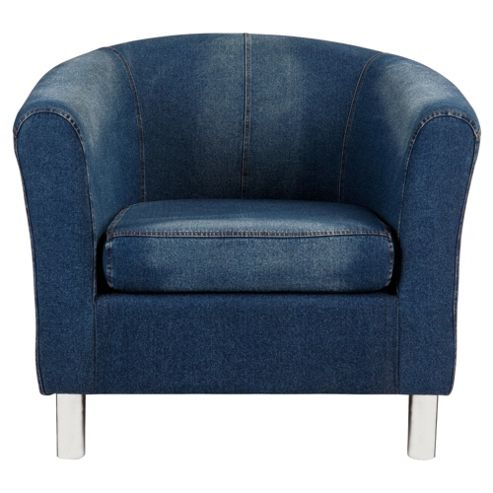 Tub Fabric Accent Chair Denim