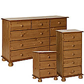 Nordic Pine Bedside, 5 Drawer Narrow Chest, 2+3+4 Chest Package