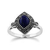 Gemondo 925 Sterling Silver 1.00ct Lapis Lazuli & Marcasite Art Deco Ring