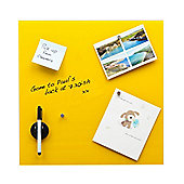 Glass Magnetic Memo Board (Yellow 40cm x 40cm) magnets, eraser & dry wipe pen