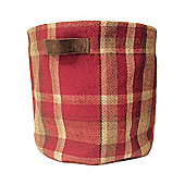 McAlister Large Fabric Storage Basket - Red Wool Look Tartan Check