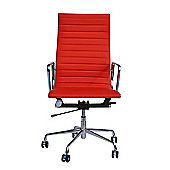 Eames EA119 Inspired High Back Ribbed Red Faux Leather Office Chair
