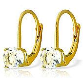 QP Jewellers 1.20ct Aquamarine Boston Leverback Earrings in 14K Gold