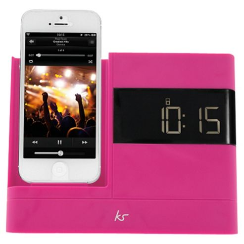 Kitsound X-Dock with FM Radio for iPhone 5/5s/6/6 Plus, Pink