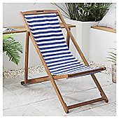 Wooden Garden Deck Chair, Blue & White Stripe